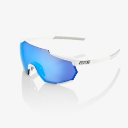 100% Racetrap Matte White HiPER Blue Multilayer Mirror Lens